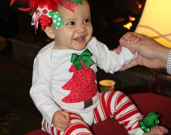 Over The Top Boutique Christmas outfit SET -- bow, leg warmers and onesie