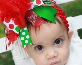 Over The Top Boutique Christmas Bow -- Decorate Her for Christmas -- Polka Dots, Stripes, and Glitter
