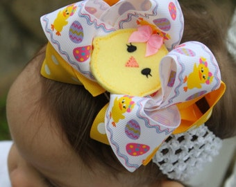 """Easter Chick Bow  -- """"Pretty Little Chickie"""" -- Large Double Bow with Chickie Center with Optional White Headband"""