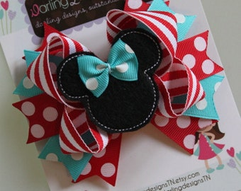 Minnie Mouse Bow -turquoise red and white- Darling Little Bow Shop