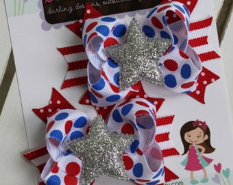 America Sweetie Bows-- pigtail bows -- red white and blue with glitter star -- 4th of July bows