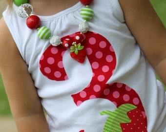 Strawberry Shirt or Tank Top -- Strawberry Shortcake -- Red and Hot Pink Number with Hand Cut Strawberry