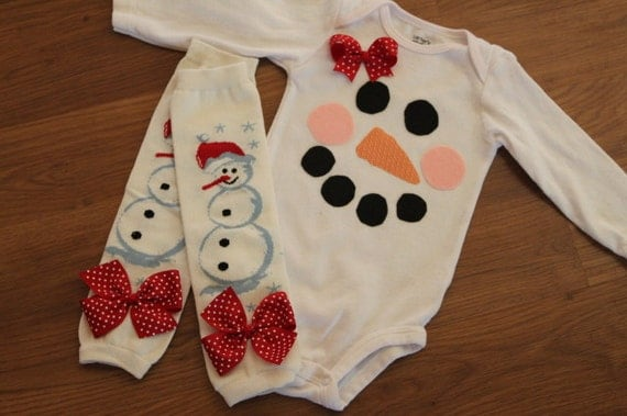 Over The Top Boutique Outfit  -- Mrs. Frosty the Snowman -- leg warmers and onesie