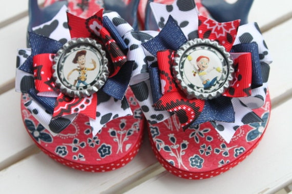 Jessie and Woody inspired Bow Flip Flops --- perfect for Toy Story birthday