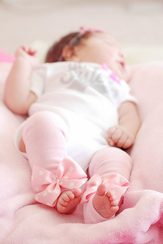 Pink Leg Warmers -- Solid Baby Pink -- Leg Warmers with pink polka dot bows - Choose Newborn or Regular