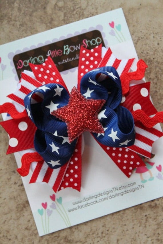 America Sweetie Bow-- red white and blue with glitter star --Memorial Day and 4th of July
