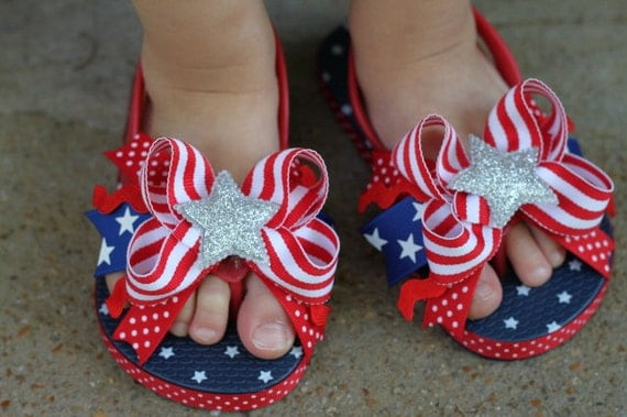 Stars and Stripes Bow Toddler Flip Flops - Red White and Blue flip flops -- 4th of July