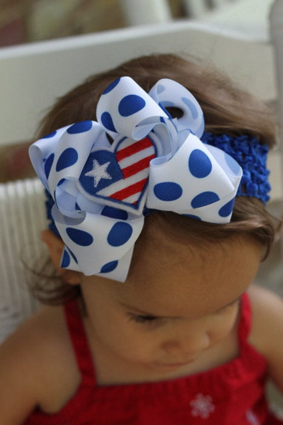 American Cutie Pie Bow and optional headband -- Double Bow with optional royal blue headband -- July 4th