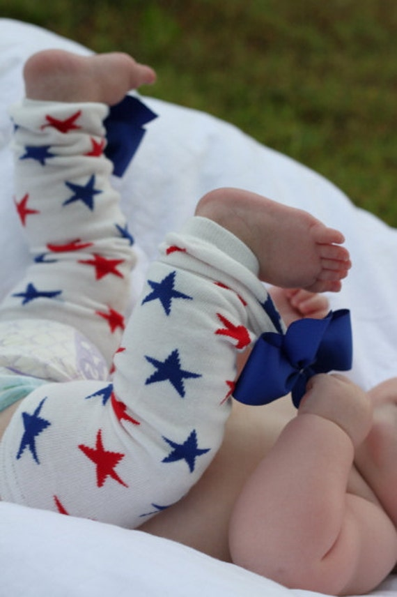 Baby Girl Leg Warmers -- Bow Leg Warmers -- July 4th, Memorial Day -- Red, white and blue stars