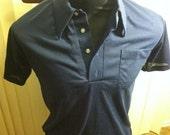 Vintage Navy Blue Short Sleeve Polo Shirt