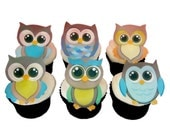 Owl Cake Toppers and Cupcake Decorations, Birthday Cake and Baby Shower Decorating - OWLS Boys