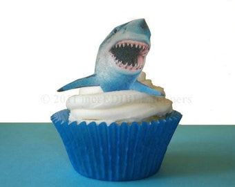 SHARK WEEK - 12 Edible Sharks | Shark Cupcakes | Boys Birthday | Birthday Cake Decorating Supply | Great White Shark | Edible Toppers