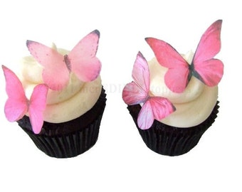 Wedding Cake Toppers - Edible Butterflies in Prettiest Pink - Cupcake Toppers, Cake Decorations, Cupcake Decorations for Valentine's Day