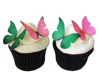 EDIBLE CAKE TOPPERS - 24 Edible Butterflies in Hot Pink and Green - Cupcake Shop, Supply Store, Bakery Supplies