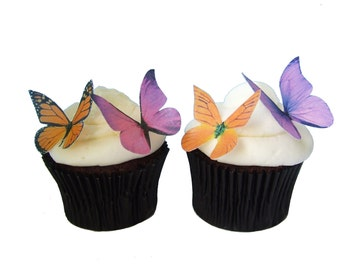 EDIBLE PAPER Cake Supplies - 24 Edible Butterflies in  Purple and Orange - Cupcakes, Cake, Toppers