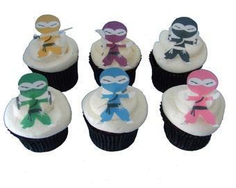 EDIBLE NINJA Cupcake Toppers - Birthday Party Decorations, Cupcake Toppers, Boys Birthday