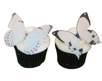 Edible Butterflies for Cakes and Cupcakes -  12 White Cupcake Toppers, Cake Decorations, Bridal Shower - Birthday - Butterfly