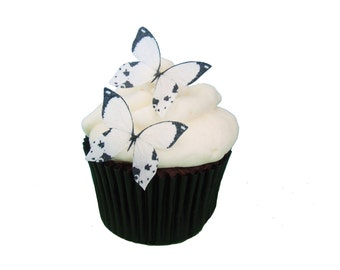 24 Edible Butterflies - 24 Mini White and Black -  Winter Wedding Cake Topper, Butterfly Toppers