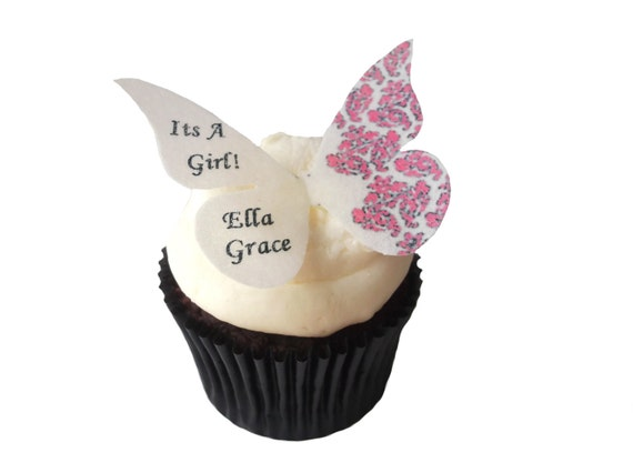 12 Edible Butterflies - Pink Damask - Personalized Wedding Baby Shower cake decorations