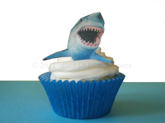 Cake Decorating Ideas Shark : SHARK WEEK - 12 Edible Sharks - Shark Cupcakes, Boys ...