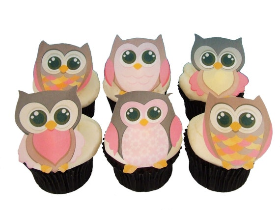 Owl Cake Toppers and Cupcake Decorations, Birthday Cake and Baby Shower Decorating - OWLS Girls