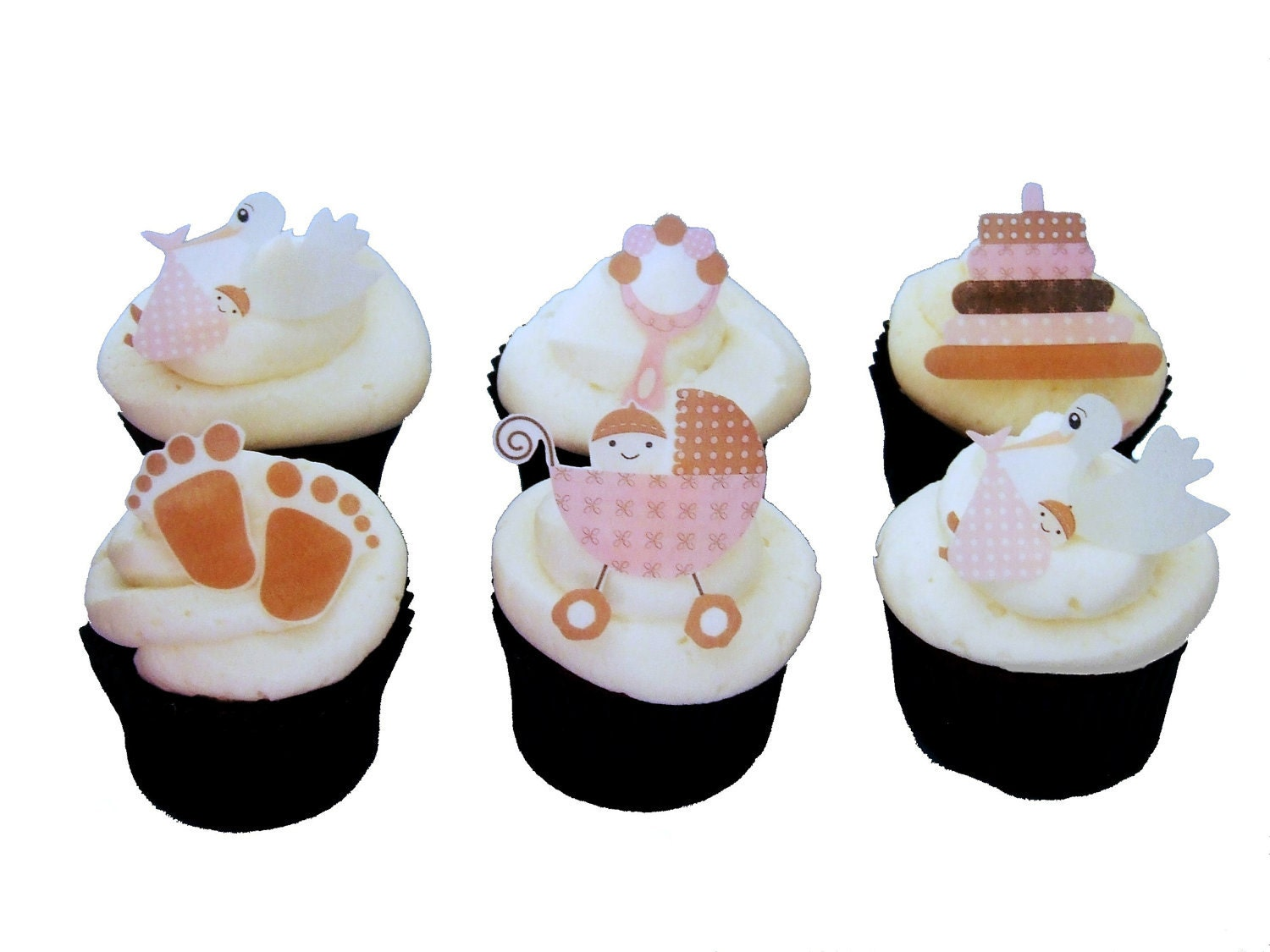 BABY SHOWER Cupcake Toppers Edible Stork Cake Decorations