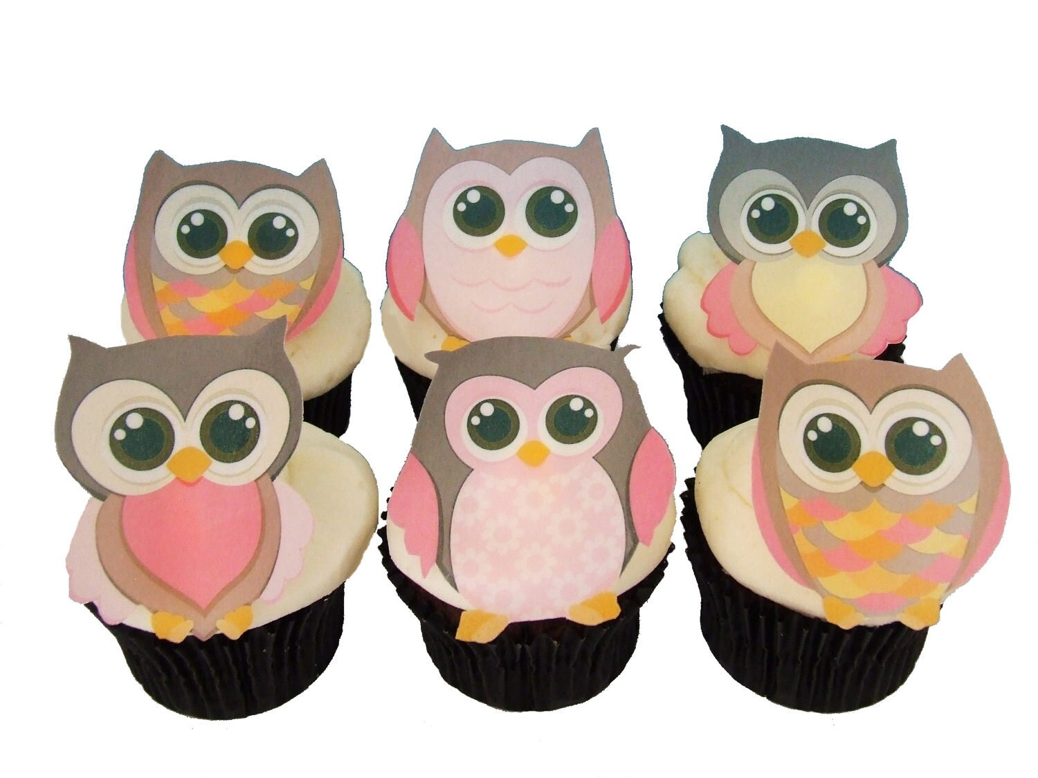Edible Cake Image Owl : 12 EDIBLE OWLS Girls Cupcake Toppers by incrEDIBLEtoppers