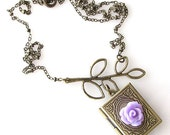 book locket necklace,  leaf necklace,   antique bronze locket necklace, purple rose jewelry