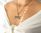 big dragonfly jewelry, long necklace, brass necklace, gift idea under 30, dragonfly necklace, insect jewelry animal bug