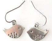 bird lover gift for her, bird earrings, surgical steel earrings wire, love bird, for sensitive ears hypoallergenic earrings surgical