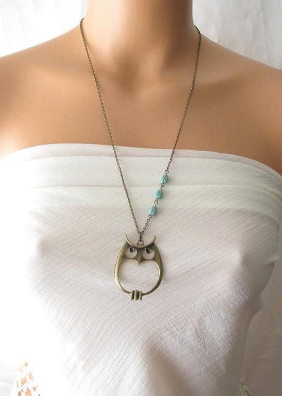 owl necklace, long necklace, owl jewelry, animal necklace, owl pendant necklace, turquoise green beads ladybug jewelry, antique brass owl