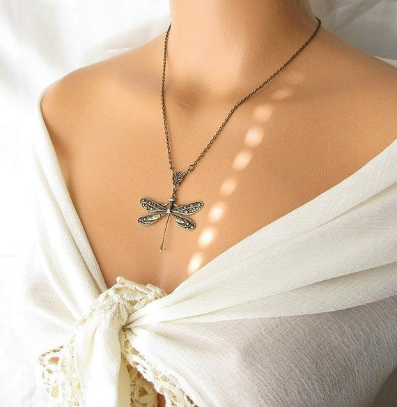 big dragonfly jewelry, long necklace, brass necklace, gift idea under 30, dragonfly necklace, insect jewelry animal bug