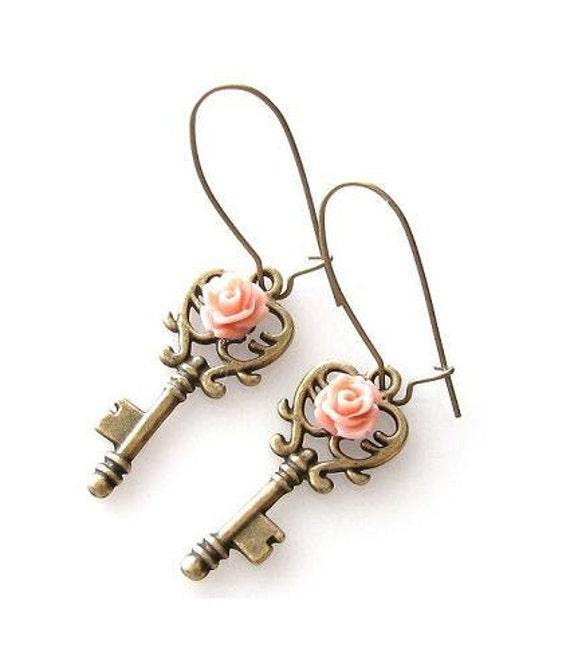 key earrings, skeleton key earrings, heart key, peach flower earrings, rose earrings, romantic jewelry, kidney earrings