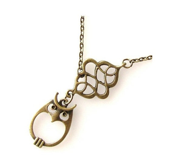 owl necklace, owl jewelry necklace, owl accessory, woodland jewelry nature necklace