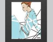 "Original Fashion Illustration print 8.5""X11"" with a 11x14 matte"