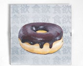 "Original dessert series "" Appetite"".  Original  painting PRINT 8""X8"" with Glass FRAME, Chocolate Donuts"