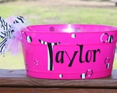 Awesome To Use For Summer or Easter - Available In Pink, Orange or Turquoise - Oval Plastic Tub Personalized As You Wish