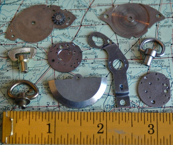 Lot of 9 Vintage Wrist Watch and Pocket Watch Components