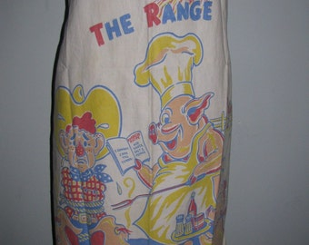 50s Vintage Apron Mens BBQ Western Graphic OSFA