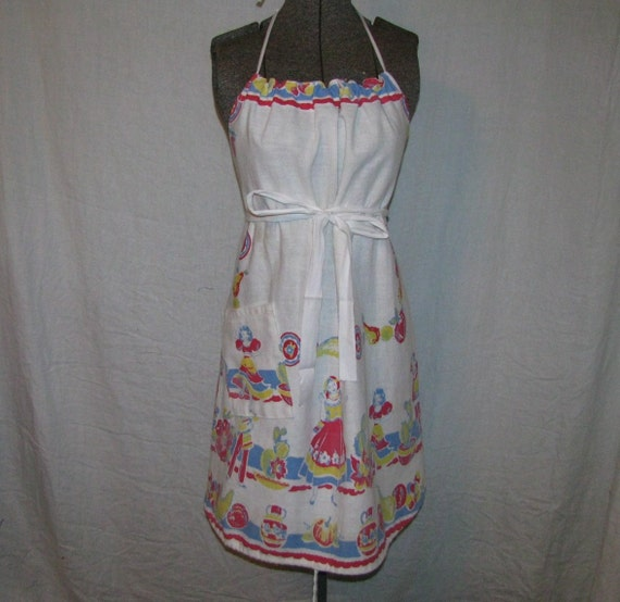 Handmade Apron Mexican Print Recycled 40s Vintage Tablecloth
