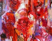 Free shipping  original, modern OIL on canvas 35x22 cm apr.14x9  inches ''  Roses''  by Eugene Petrov