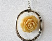 Long chain spring necklace - bridal flower necklace with off white/beige rose