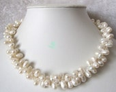 Pearl Necklace - 18 inch 2 Row 7-8mm White Baroque Freshwater Pearl Necklace - Free shipping