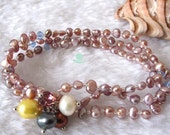 Pearl Bracelet - 7 inches 3-4mm 3 Row Lavender Freshwater Pearl Bracelet - Free Shipping
