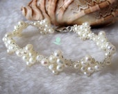 Pearl Bracelet - 8 inches 4-5mm White Freshwater Pearl Bracelet L - Free shipping