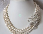Pearl Necklace - 18-20 inch 3 Row 6-7mm White Freshwater Pearl Necklace X3288 - Free shipping