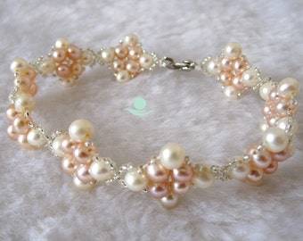 Pearl Bracelet - Cute 7.5 inches 4-5mm White Pink Freshwater Pearl Bracelet L - Free shipping