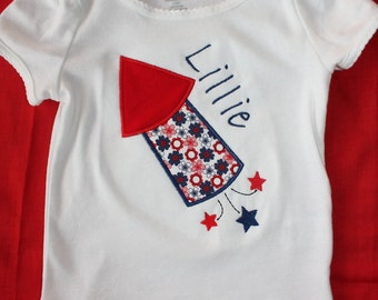 Girls Personalized Applique Fourth of July Firework onesie or tshirt