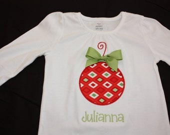 Personalized Applique Christmas Ornament long or short sleeve onesie or tshirt