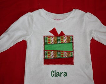 Personalized Applique Christmas Present onesie or tshirt